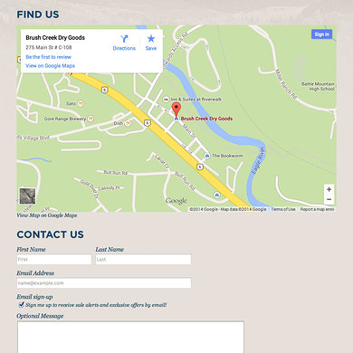 Location and contact page